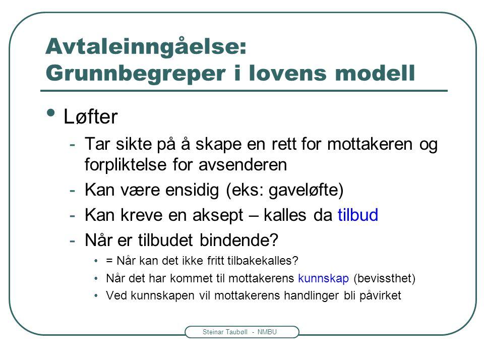 Steinar Taubøll - NMBU Avtaleinngåelse: Grunnbegreper i lovens modell • Løfter -Tar sikte på å skape en rett for mottakeren og forpliktelse for avsend