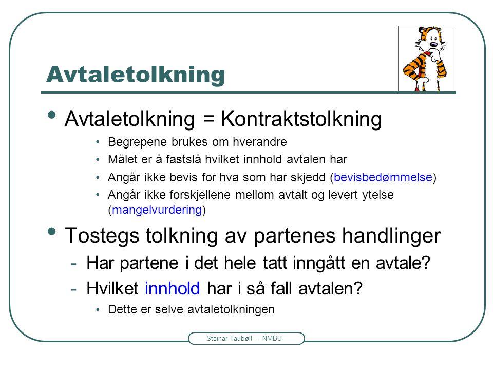 Steinar Taubøll - NMBU Avtaletolkning • Avtaletolkning = Kontraktstolkning •Begrepene brukes om hverandre •Målet er å fastslå hvilket innhold avtalen