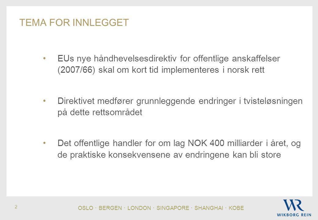 OSLO ・ BERGEN ・ LONDON ・ SINGAPORE ・ SHANGHAI ・ KOBE 2 TEMA FOR INNLEGGET • EUs nye håndhevelsesdirektiv for offentlige anskaffelser (2007/66) skal om kort tid implementeres i norsk rett • Direktivet medfører grunnleggende endringer i tvisteløsningen på dette rettsområdet • Det offentlige handler for om lag NOK 400 milliarder i året, og de praktiske konsekvensene av endringene kan bli store