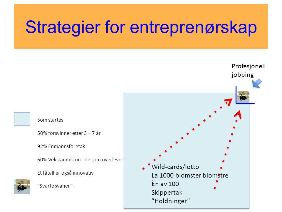 Strategier for entreprenørskap Som startes 50% forsvinner etter 3 – 7 år 92% Enmannsforetak 60% Vekstambisjon - de som overlever Et fåtall er også inn