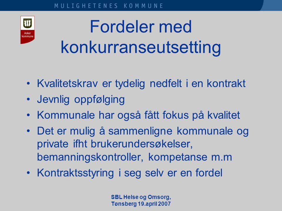 SBL Helse og Omsorg, Tønsberg 19.april 2007 Fordeler med konkurranseutsetting •Kvalitetskrav er tydelig nedfelt i en kontrakt •Jevnlig oppfølging •Kommunale har også fått fokus på kvalitet •Det er mulig å sammenligne kommunale og private ifht brukerundersøkelser, bemanningskontroller, kompetanse m.m •Kontraktsstyring i seg selv er en fordel