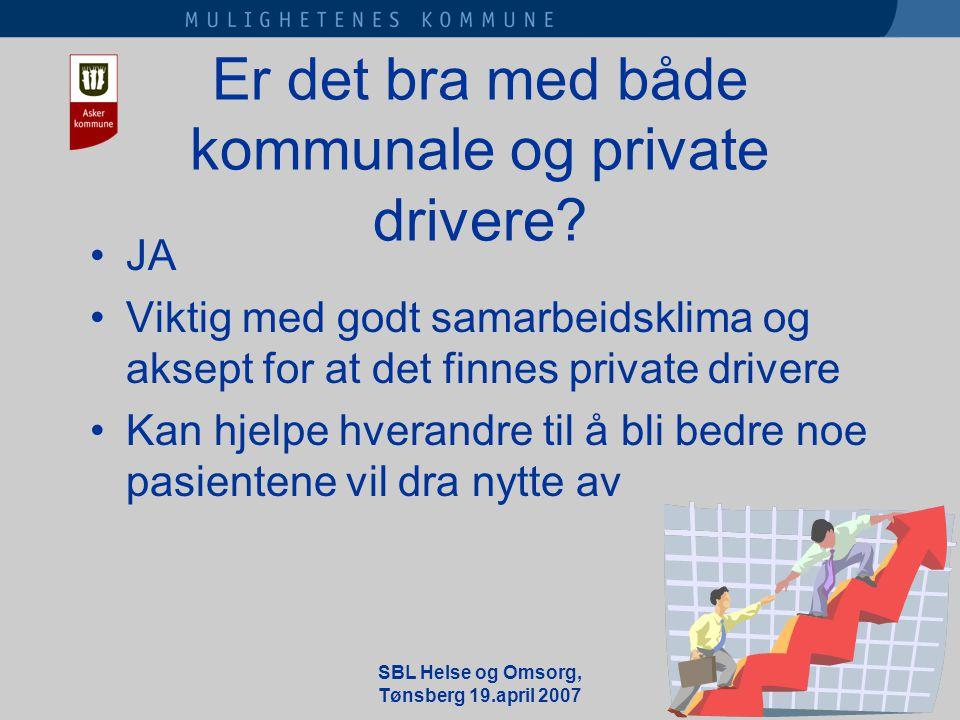 SBL Helse og Omsorg, Tønsberg 19.april 2007 Er det bra med både kommunale og private drivere.