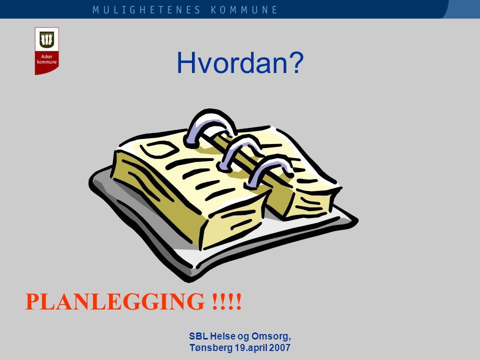 SBL Helse og Omsorg, Tønsberg 19.april 2007 Hvordan PLANLEGGING !!!!
