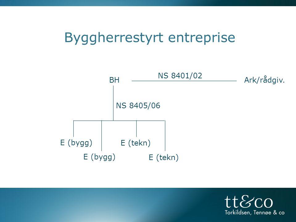 Byggherrestyrt entreprise BH Ark/rådgiv. NS 8401/02 E (bygg) E (tekn) NS 8405/06
