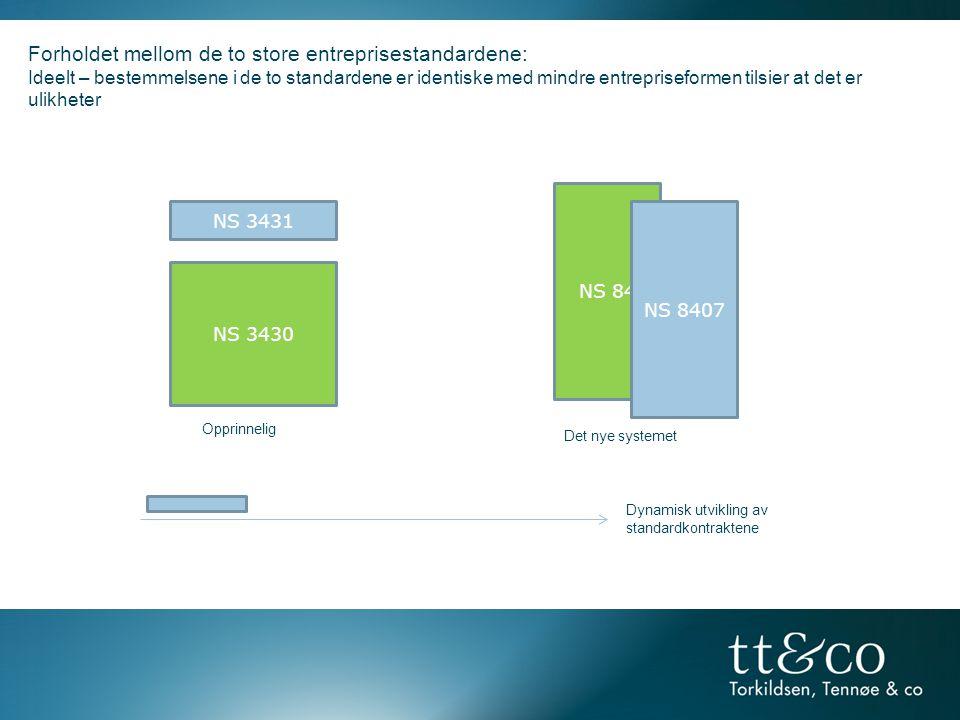 NS 84 Forholdet mellom de to store entreprisestandardene: Ideelt – bestemmelsene i de to standardene er identiske med mindre entrepriseformen tilsier