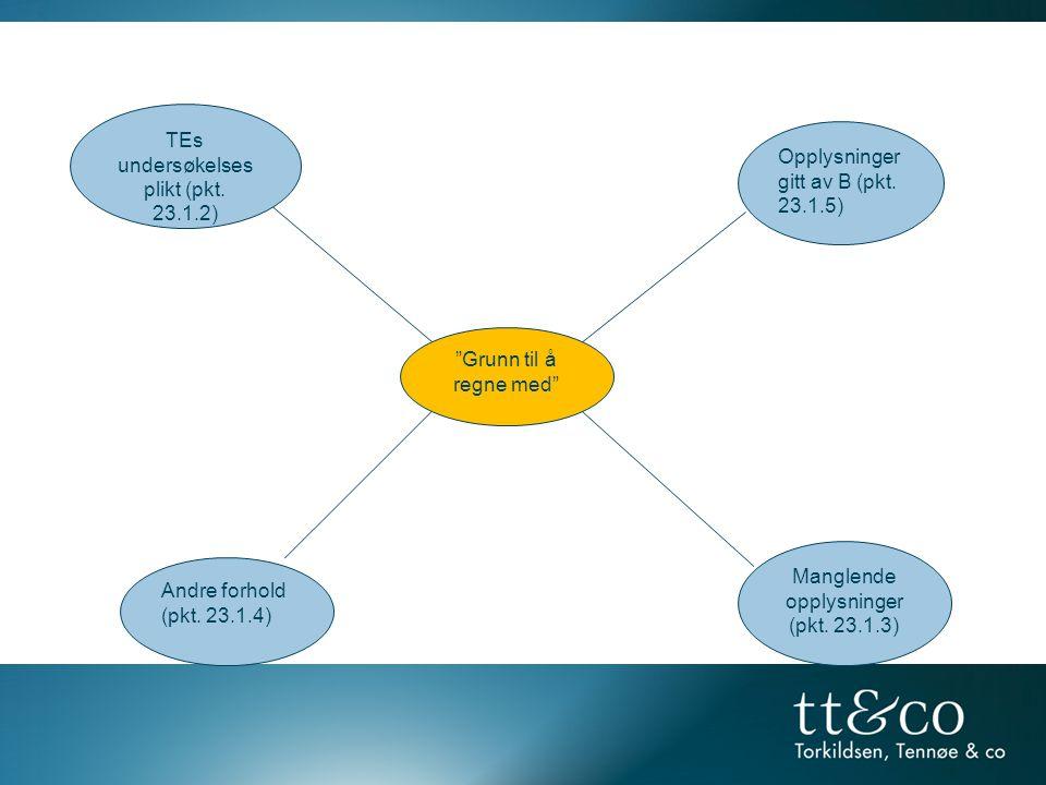 """""""Grunn til å regne med"""" Opplysninger gitt av B (pkt. 23.1.5) Manglende opplysninger (pkt. 23.1.3) Andre forhold (pkt. 23.1.4) TEs undersøkelses plikt"""