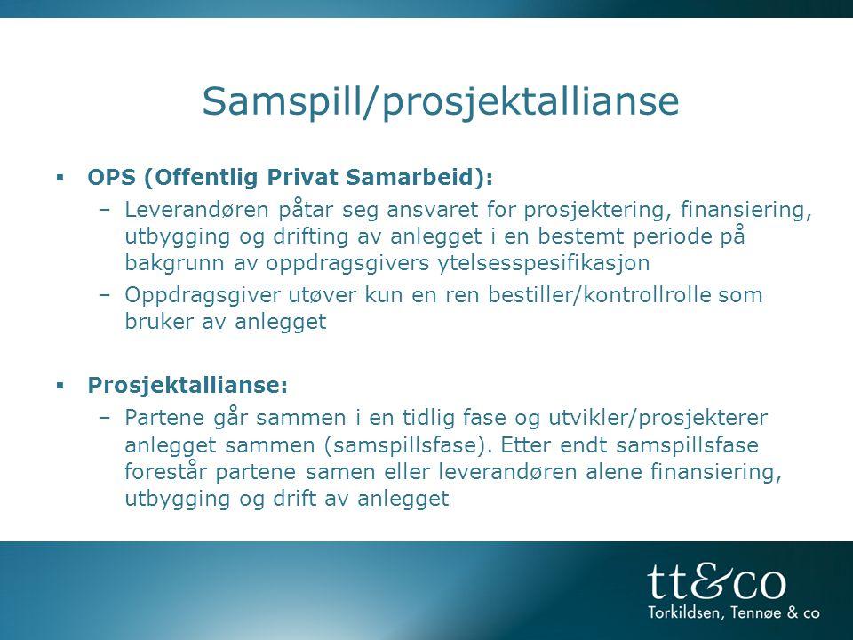 Samspill/prosjektallianse  OPS (Offentlig Privat Samarbeid): –Leverandøren påtar seg ansvaret for prosjektering, finansiering, utbygging og drifting