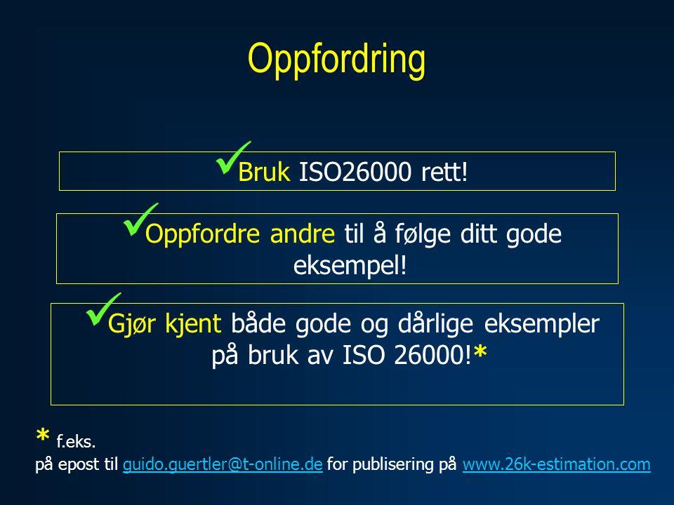 Oppfordring  Bruk ISO26000 rett. Oppfordre andre til å følge ditt gode eksempel.