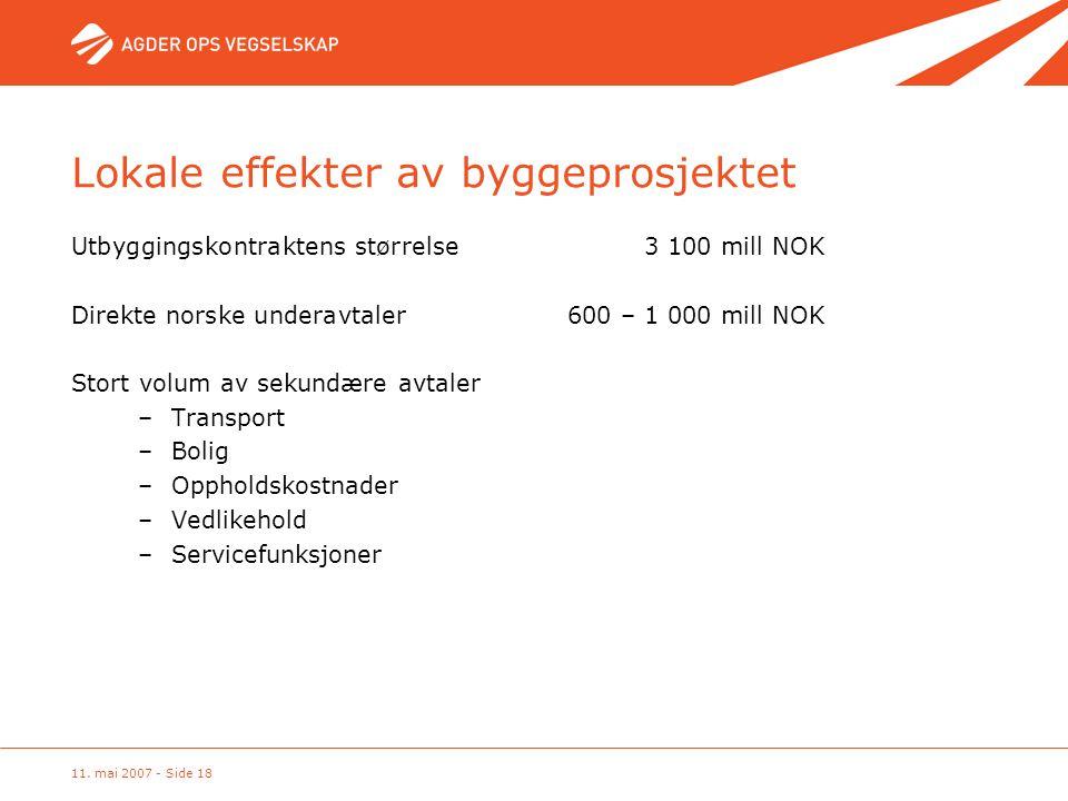 11. mai 2007 - Side 18 Lokale effekter av byggeprosjektet Utbyggingskontraktens størrelse 3 100 mill NOK Direkte norske underavtaler600 – 1 000 mill N