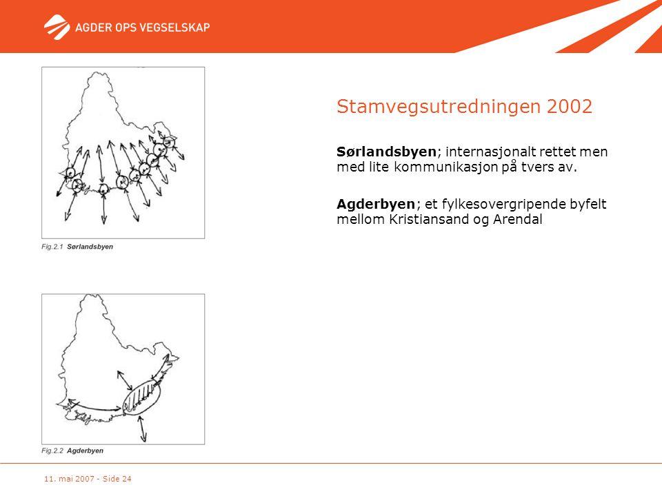 11. mai 2007 - Side 24 Stamvegsutredningen 2002 Sørlandsbyen; internasjonalt rettet men med lite kommunikasjon på tvers av. Agderbyen; et fylkesovergr