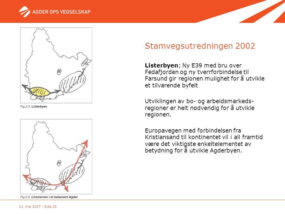11. mai 2007 - Side 25 Stamvegsutredningen 2002 Listerbyen; Ny E39 med bru over Fedafjorden og ny tverrforbindelse til Farsund gir regionen mulighet f
