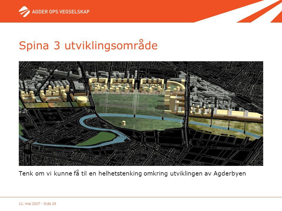 11. mai 2007 - Side 29 Spina 3 utviklingsområde Tenk om vi kunne få til en helhetstenking omkring utviklingen av Agderbyen
