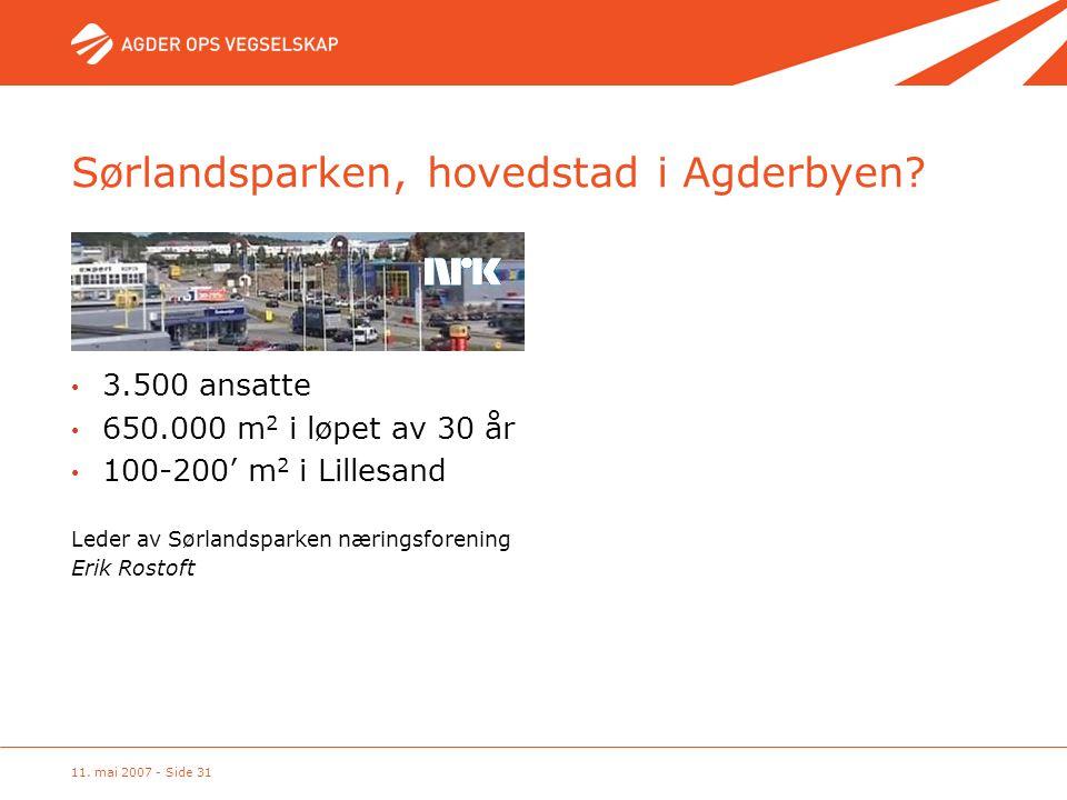 11. mai 2007 - Side 31 Sørlandsparken, hovedstad i Agderbyen? Leder av Sørlandsparken næringsforening Erik Rostoft • 3.500 ansatte • 650.000 m 2 i løp
