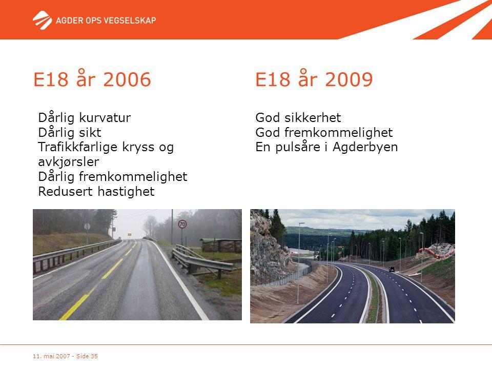 11. mai 2007 - Side 35 Dårlig kurvatur Dårlig sikt Trafikkfarlige kryss og avkjørsler Dårlig fremkommelighet Redusert hastighet God sikkerhet God frem