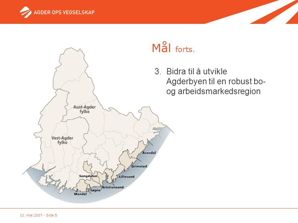 11. mai 2007 - Side 5 3. Bidra til å utvikle Agderbyen til en robust bo- og arbeidsmarkedsregion Mål forts.