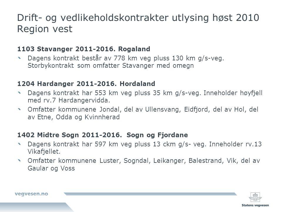 Drift- og vedlikeholdskontrakter utlysing høst 2010 Region vest 1103 Stavanger 2011-2016. Rogaland Dagens kontrakt består av 778 km veg pluss 130 km g
