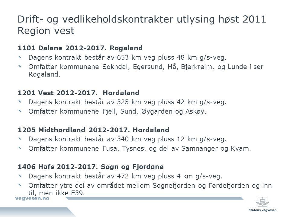 Drift- og vedlikeholdskontrakter utlysing høst 2011 Region vest 1101 Dalane 2012-2017. Rogaland Dagens kontrakt består av 653 km veg pluss 48 km g/s-v