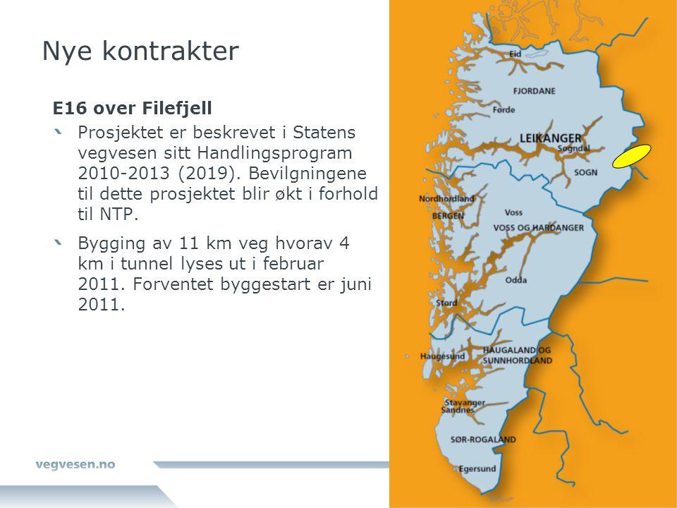 Nye kontrakter E16 over Filefjell Prosjektet er beskrevet i Statens vegvesen sitt Handlingsprogram 2010-2013 (2019). Bevilgningene til dette prosjekte