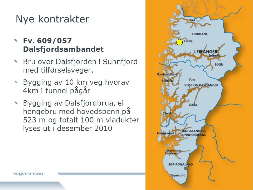 Nye kontrakter Fv. 609/057 Dalsfjordsambandet Bru over Dalsfjorden i Sunnfjord med tilførselsveger. Bygging av 10 km veg hvorav 4km i tunnel pågår Byg
