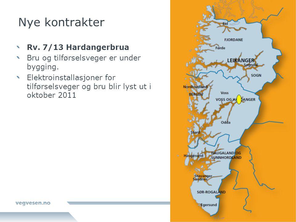 Nye kontrakter Rv. 7/13 Hardangerbrua Bru og tilførselsveger er under bygging. Elektroinstallasjoner for tilførselsveger og bru blir lyst ut i oktober
