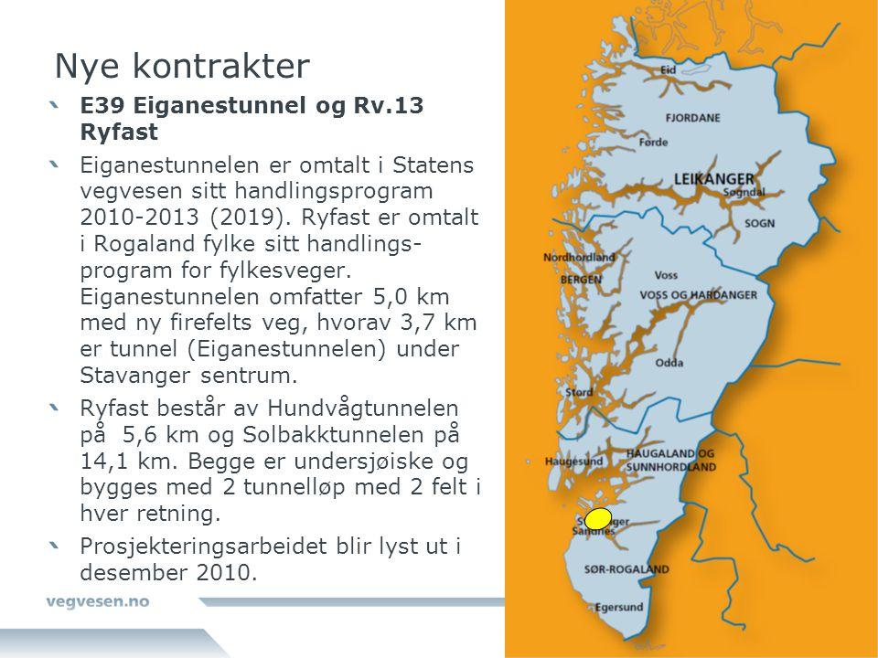 Nye kontrakter E39 Eiganestunnel og Rv.13 Ryfast Eiganestunnelen er omtalt i Statens vegvesen sitt handlingsprogram 2010-2013 (2019). Ryfast er omtalt