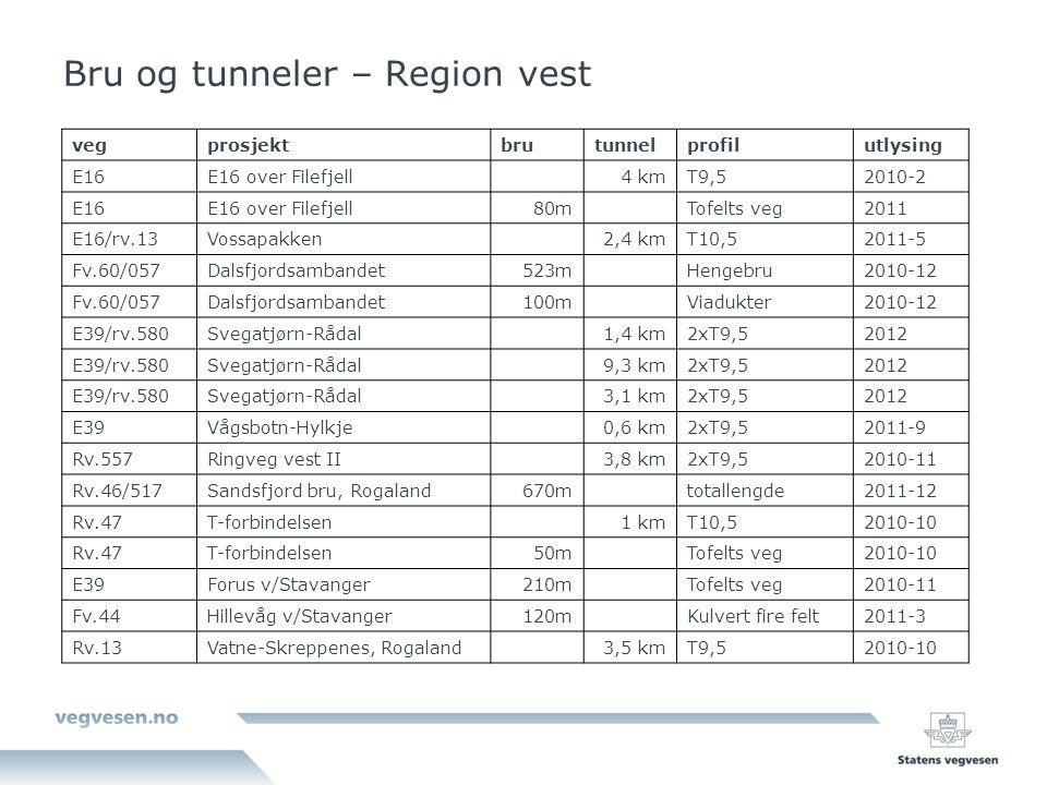 Bru og tunneler – Region vest vegprosjektbrutunnelprofilutlysing E16E16 over Filefjell4 kmT9,52010-2 E16E16 over Filefjell80mTofelts veg2011 E16/rv.13