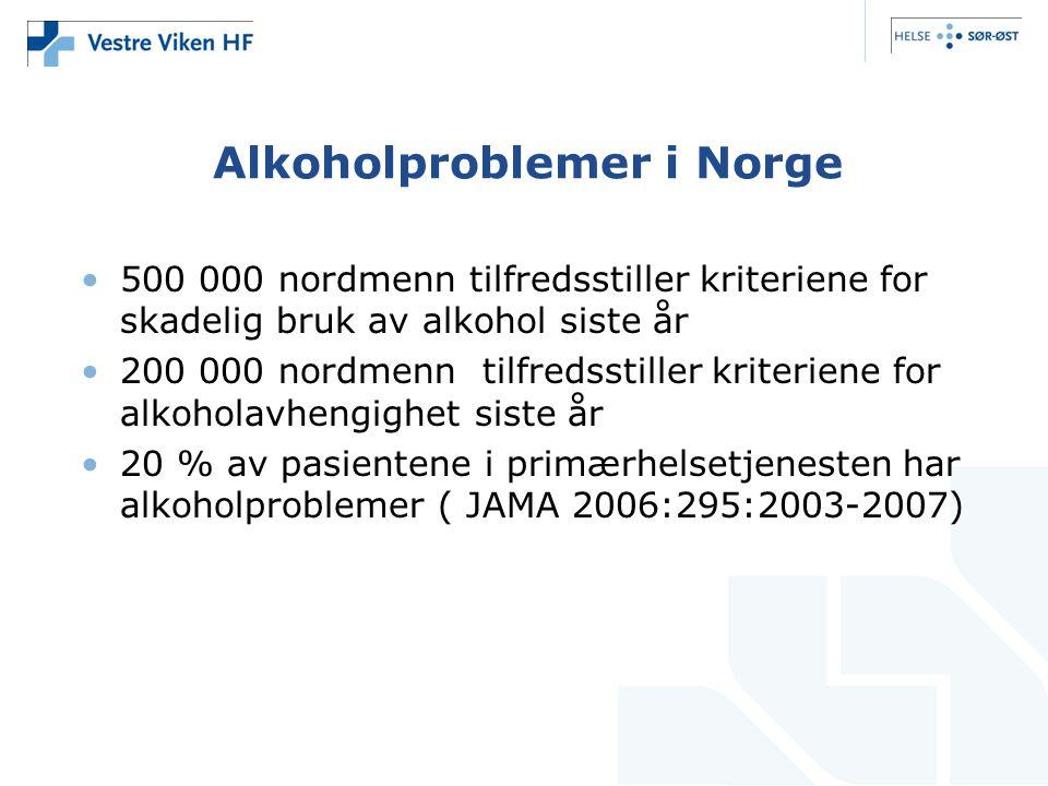 Alkoholproblemer i Norge •500 000 nordmenn tilfredsstiller kriteriene for skadelig bruk av alkohol siste år •200 000 nordmenn tilfredsstiller kriterie