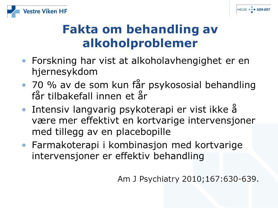 Fakta om behandling av alkoholproblemer •Forskning har vist at alkoholavhengighet er en hjernesykdom •70 % av de som kun får psykososial behandling få