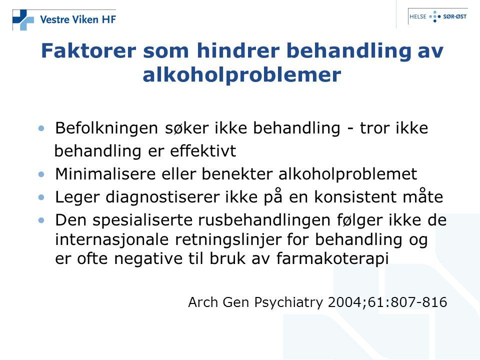 Faktorer som hindrer behandling av alkoholproblemer •Befolkningen søker ikke behandling - tror ikke behandling er effektivt •Minimalisere eller benekt