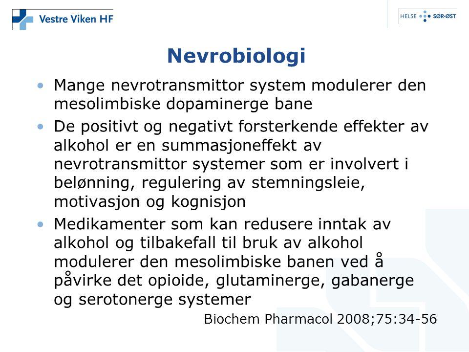 Nevrobiologi •Mange nevrotransmittor system modulerer den mesolimbiske dopaminerge bane •De positivt og negativt forsterkende effekter av alkohol er e