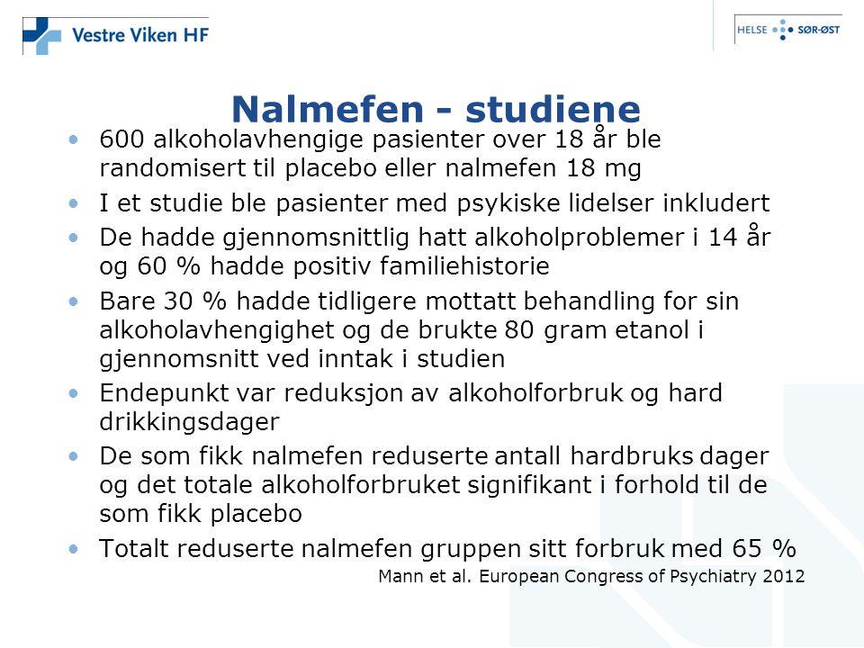 Nalmefen - studiene •600 alkoholavhengige pasienter over 18 år ble randomisert til placebo eller nalmefen 18 mg •I et studie ble pasienter med psykisk