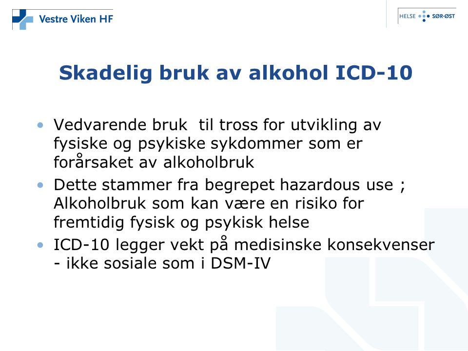 Skadelig bruk av alkohol ICD-10 •Vedvarende bruk til tross for utvikling av fysiske og psykiske sykdommer som er forårsaket av alkoholbruk •Dette stam
