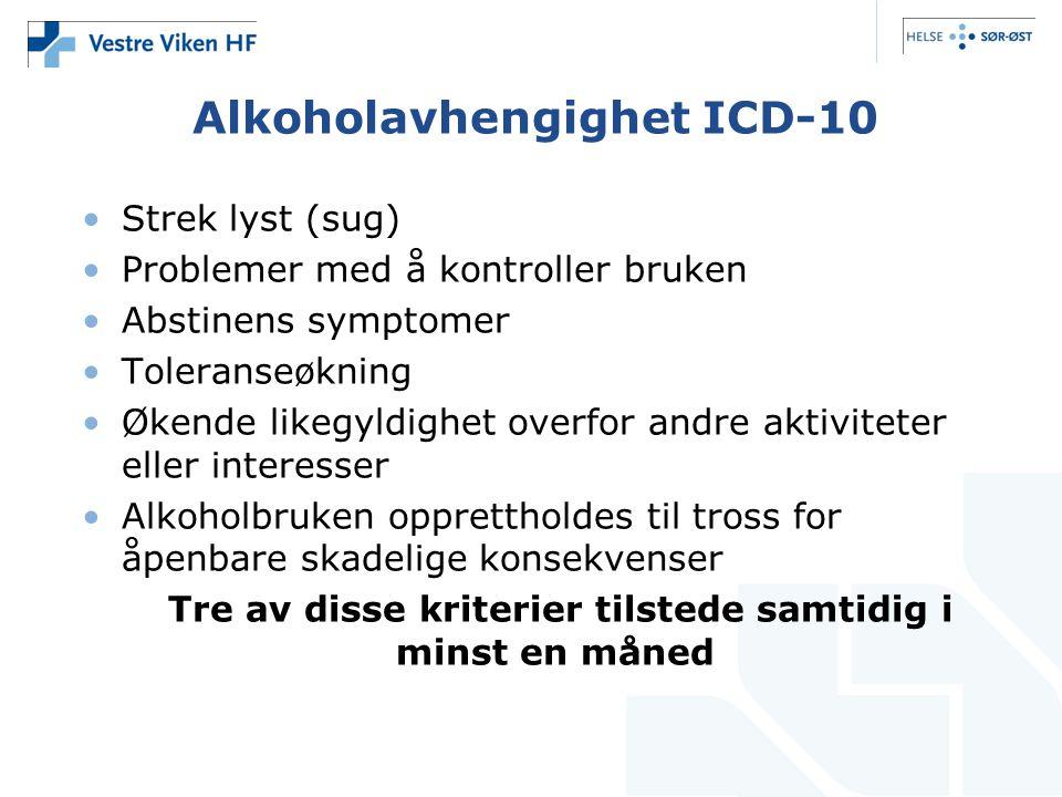 Alkoholavhengighet ICD-10 •Strek lyst (sug) •Problemer med å kontroller bruken •Abstinens symptomer •Toleranseøkning •Økende likegyldighet overfor and
