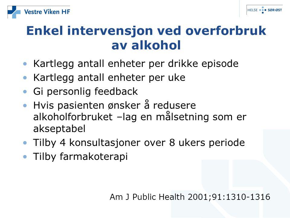 Enkel intervensjon ved overforbruk av alkohol •Kartlegg antall enheter per drikke episode •Kartlegg antall enheter per uke •Gi personlig feedback •Hvi