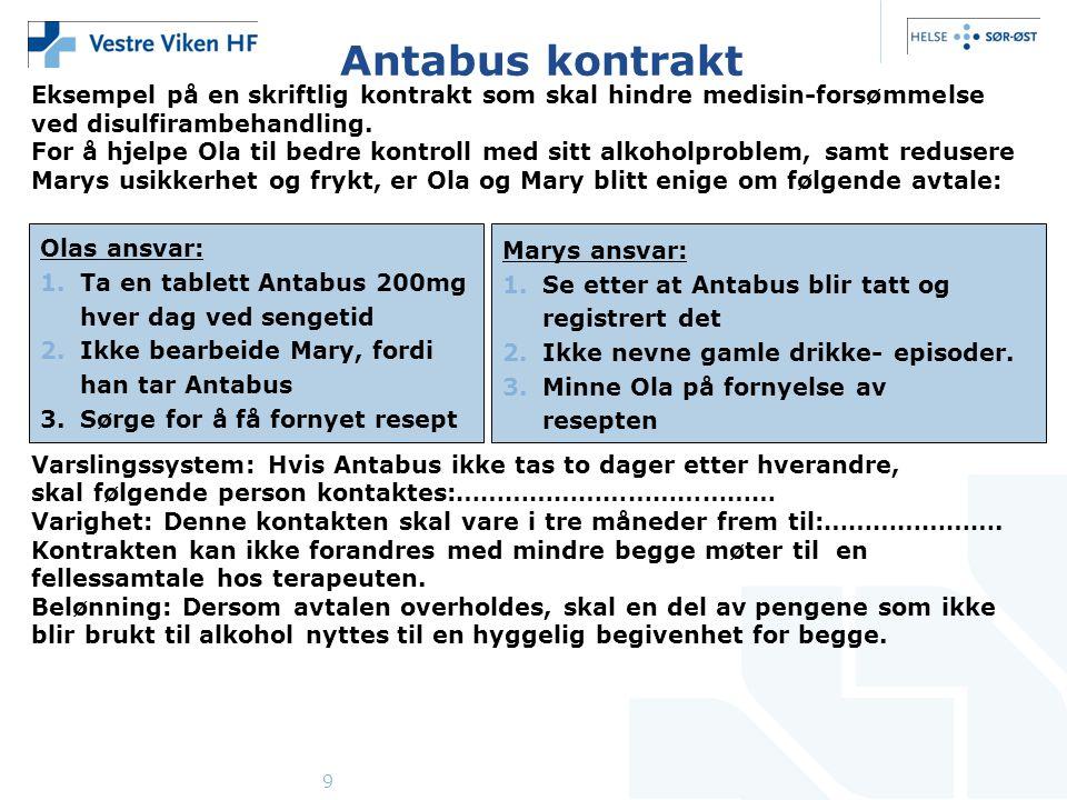 9 Antabus kontrakt Eksempel på en skriftlig kontrakt som skal hindre medisin-forsømmelse ved disulfirambehandling. For å hjelpe Ola til bedre kontroll