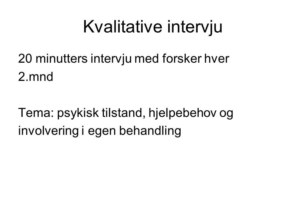 Kvalitative intervju 20 minutters intervju med forsker hver 2.mnd Tema: psykisk tilstand, hjelpebehov og involvering i egen behandling