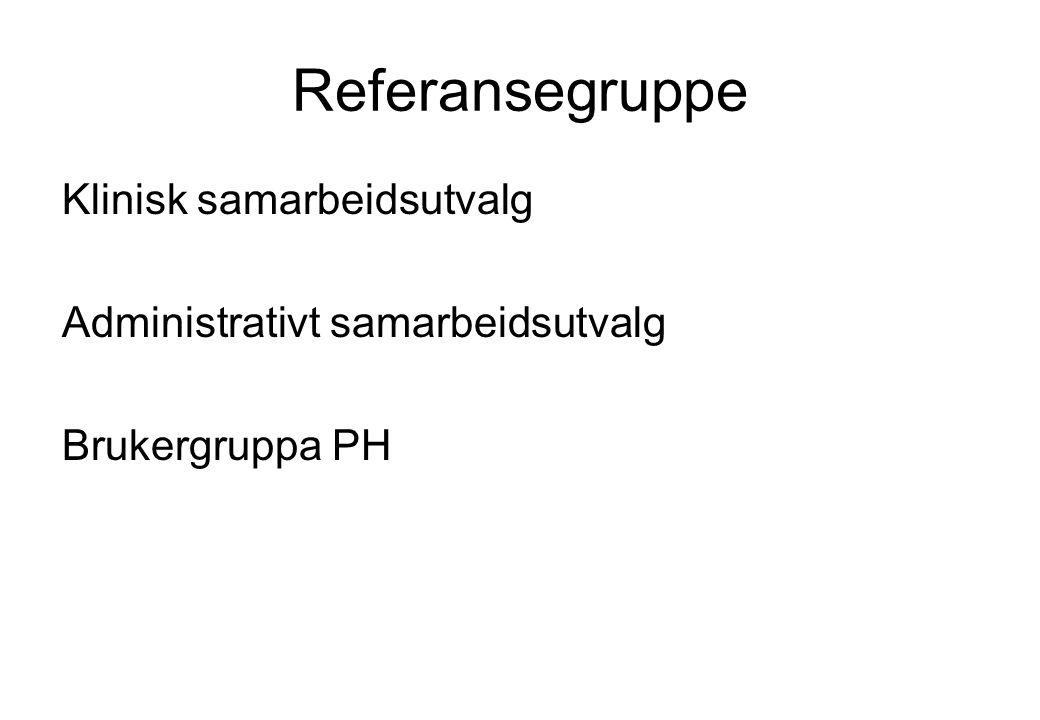 Referansegruppe Klinisk samarbeidsutvalg Administrativt samarbeidsutvalg Brukergruppa PH