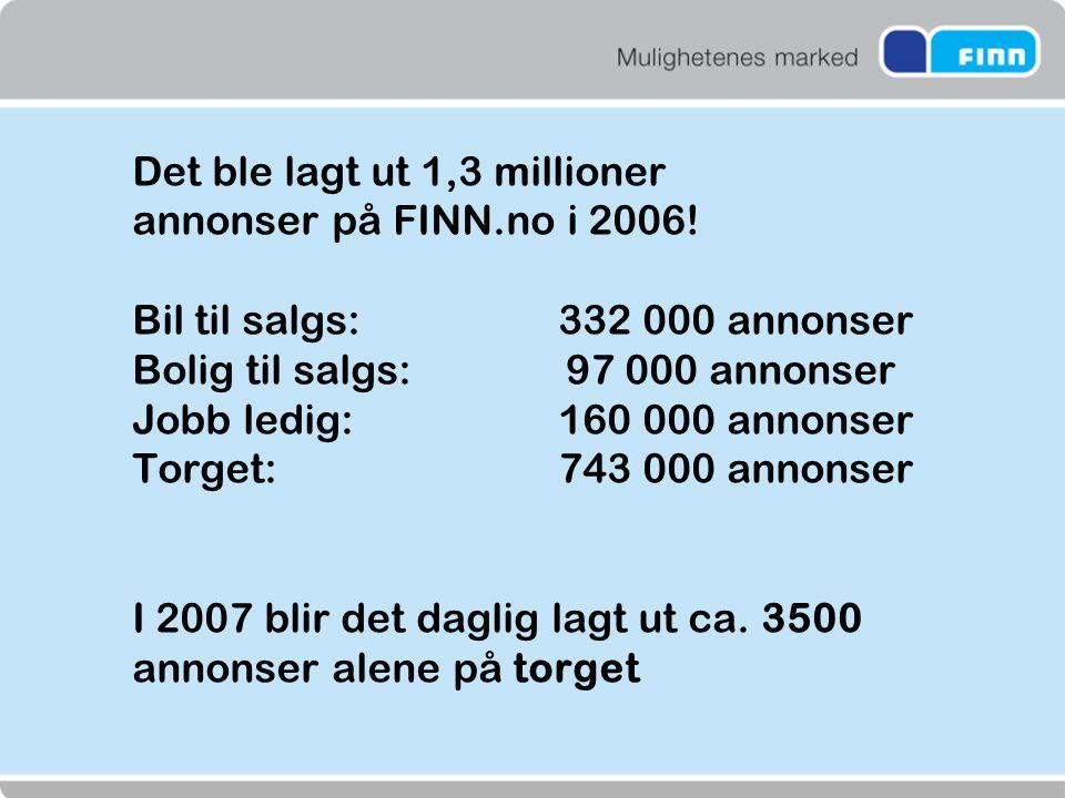 Det ble lagt ut 1,3 millioner annonser på FINN.no i 2006! Bil til salgs: 332 000 annonser Bolig til salgs: 97 000 annonser Jobb ledig: 160 000 annonse