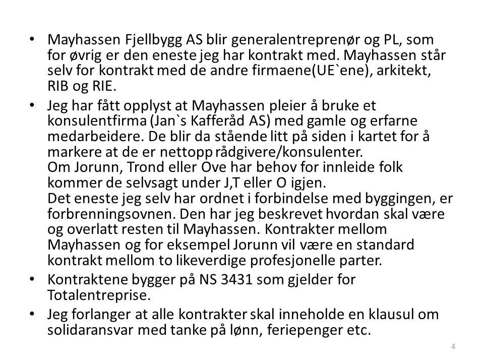 • Mayhassen Fjellbygg AS blir generalentreprenør og PL, som for øvrig er den eneste jeg har kontrakt med. Mayhassen står selv for kontrakt med de andr