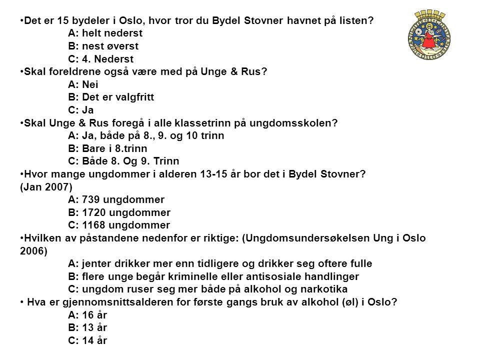 •Det er 15 bydeler i Oslo, hvor tror du Bydel Stovner havnet på listen? A: helt nederst B: nest øverst C: 4. Nederst •Skal foreldrene også være med på