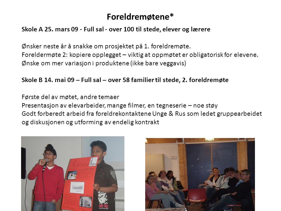 Foreldremøtene* Skole A 25. mars 09 - Full sal - over 100 til stede, elever og lærere Ønsker neste år å snakke om prosjektet på 1. foreldremøte. Forel
