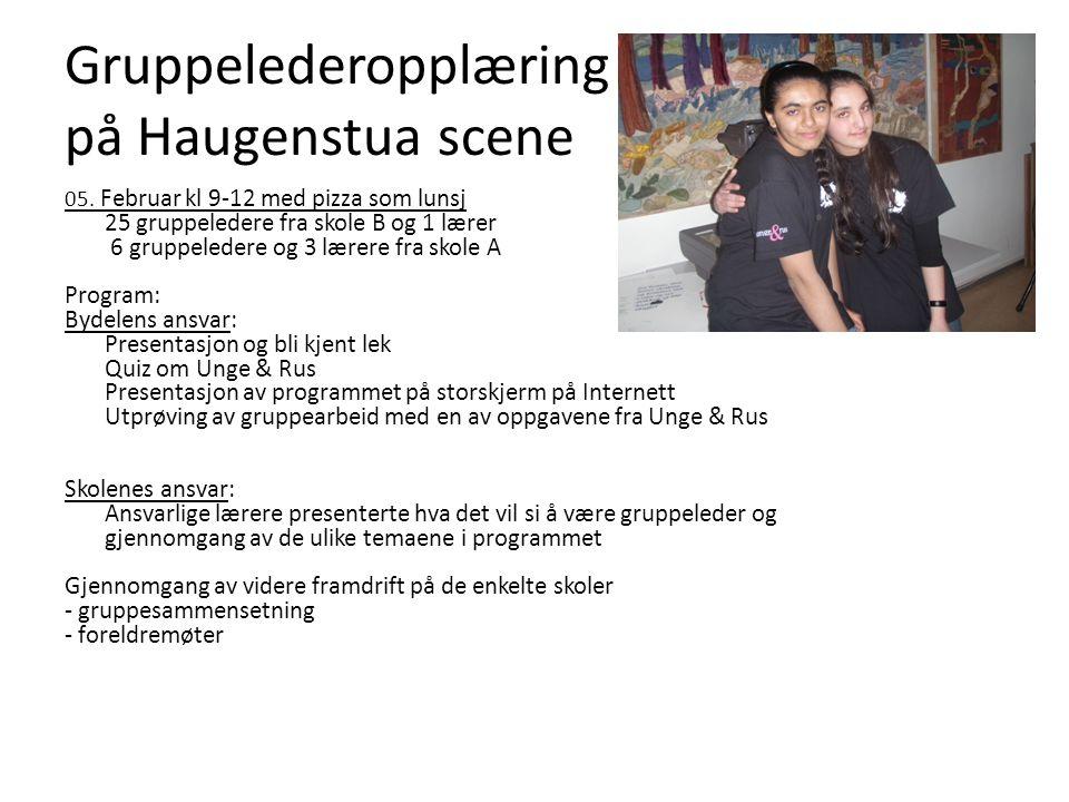 Gruppelederopplæring på Haugenstua scene 05. Februar kl 9-12 med pizza som lunsj 25 gruppeledere fra skole B og 1 lærer 6 gruppeledere og 3 lærere fra