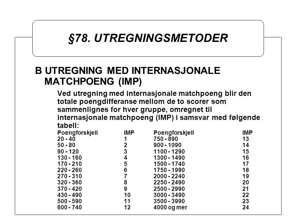 §78. UTREGNINGSMETODER B UTREGNING MED INTERNASJONALE MATCHPOENG (IMP) Ved utregning med internasjonale matchpoeng blir den totale poengdifferanse mel