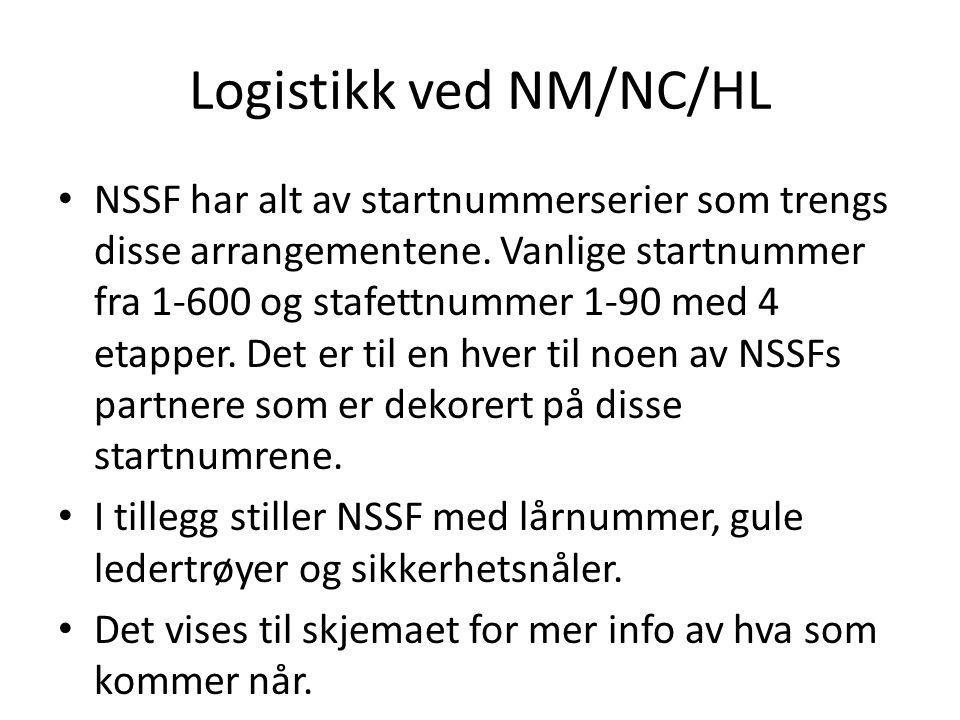 Logistikk ved NM/NC/HL • NSSF har alt av startnummerserier som trengs disse arrangementene.