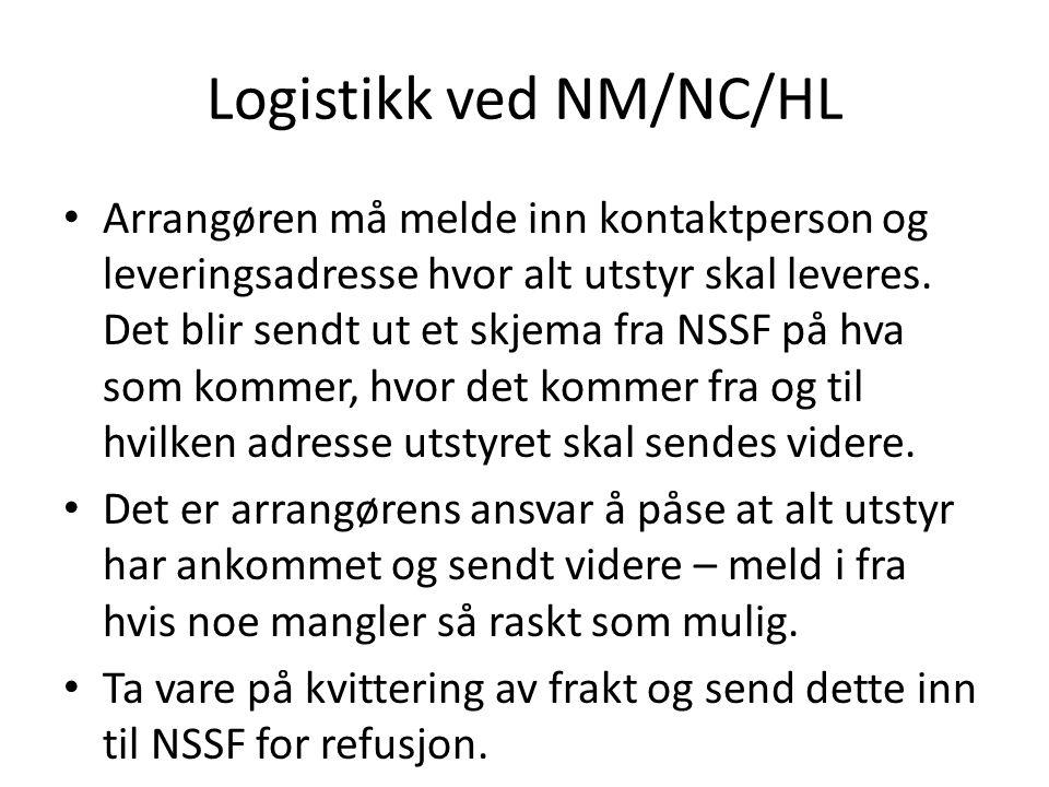 Logistikk ved NM/NC/HL • Arrangøren må melde inn kontaktperson og leveringsadresse hvor alt utstyr skal leveres.