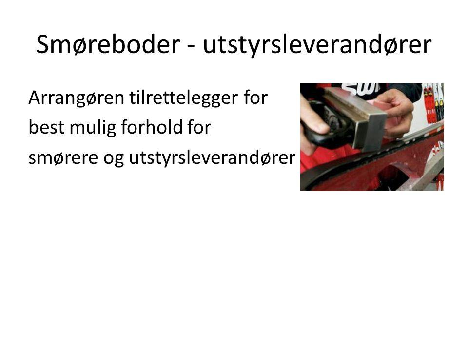 Smøreboder - utstyrsleverandører Arrangøren tilrettelegger for best mulig forhold for smørere og utstyrsleverandører