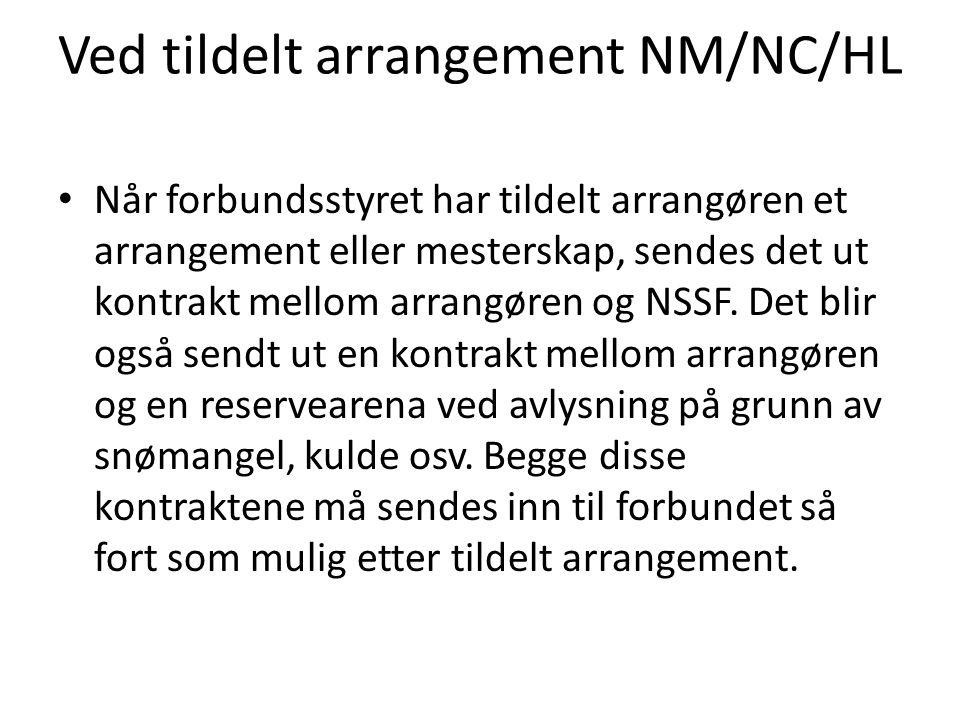 Ved tildelt arrangement NM/NC/HL • Når forbundsstyret har tildelt arrangøren et arrangement eller mesterskap, sendes det ut kontrakt mellom arrangøren og NSSF.