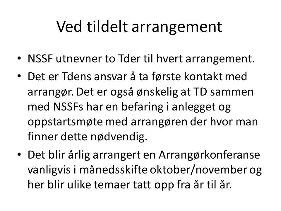 Ved tildelt arrangement • NSSF utnevner to Tder til hvert arrangement.