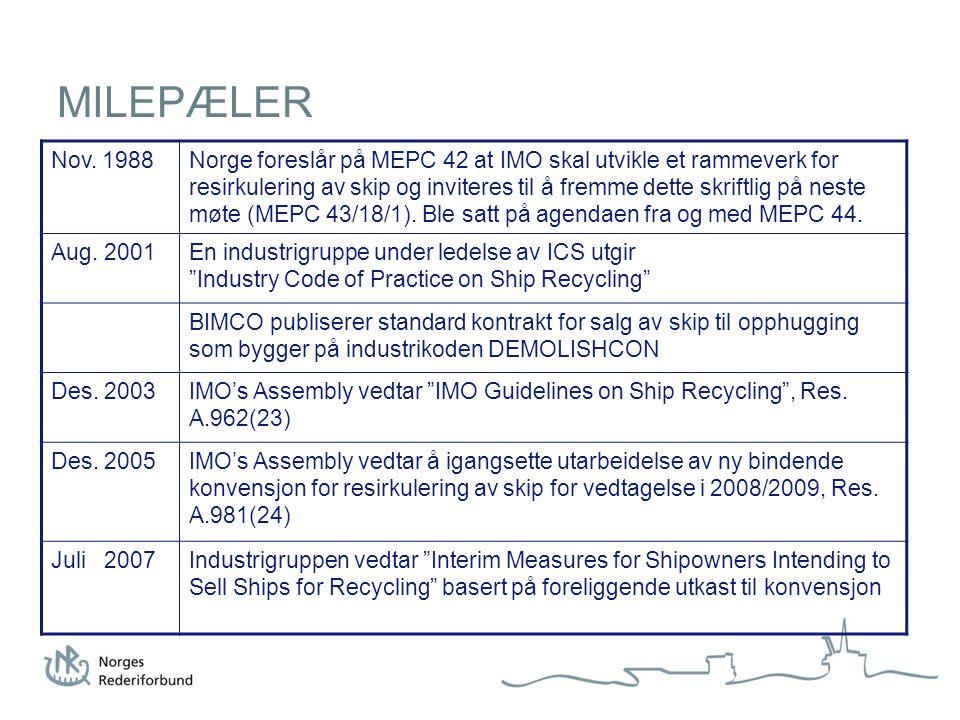 MILEPÆLER Nov. 1988Norge foreslår på MEPC 42 at IMO skal utvikle et rammeverk for resirkulering av skip og inviteres til å fremme dette skriftlig på n