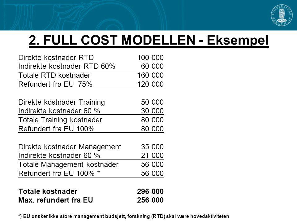2. FULL COST MODELLEN - Eksempel Direkte kostnader RTD 100 000 Indirekte kostnader RTD 60% 60 000 Totale RTD kostnader160 000 Refundert fra EU 75%120